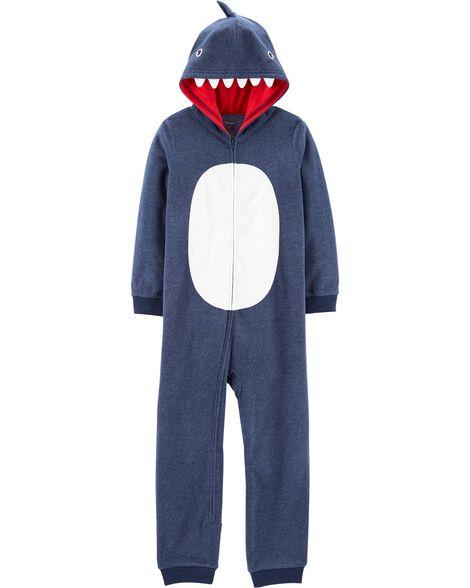 Pyjama 1 pièce à capuchon en molleton sans pieds requin