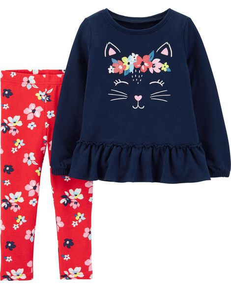 2-Piece Kitty French Terry Top & Floral Legging Set