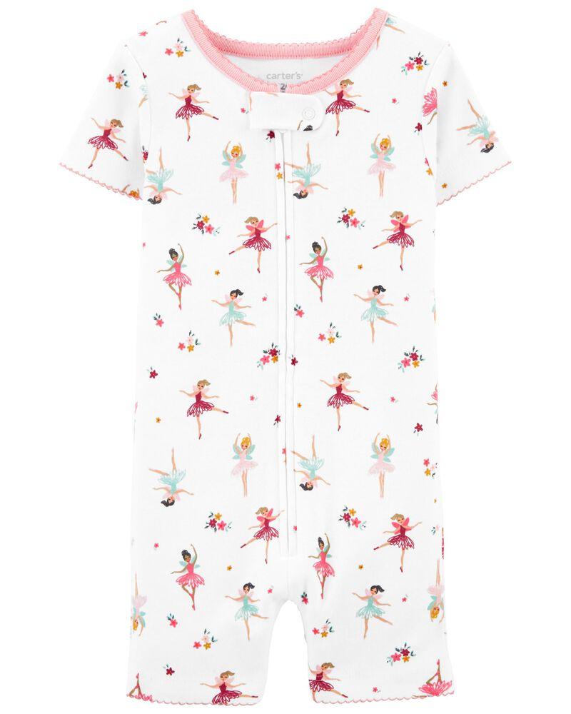 Pyjama barboteuse 1 pièce en coton ajusté à ballerine, , hi-res