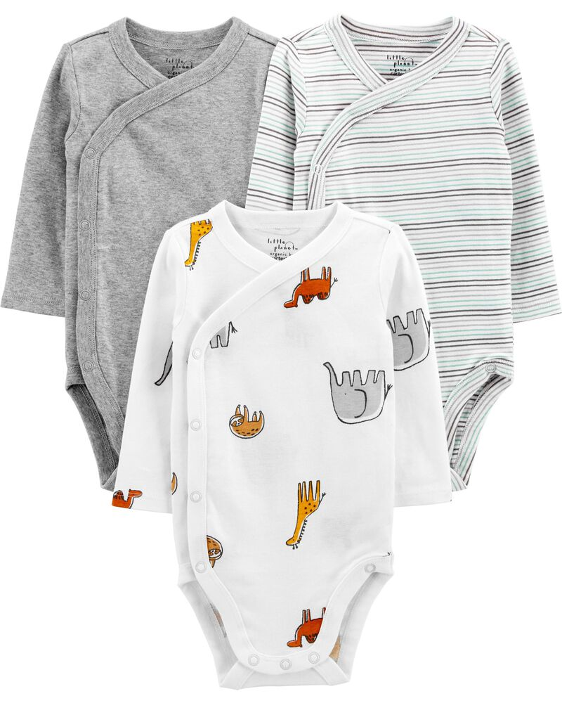 3-Pack Certified Organic Cotton Side-Snap Bodysuits, , hi-res