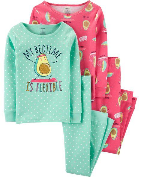 Pyjamas 4 pièces en coton ajusté avocat