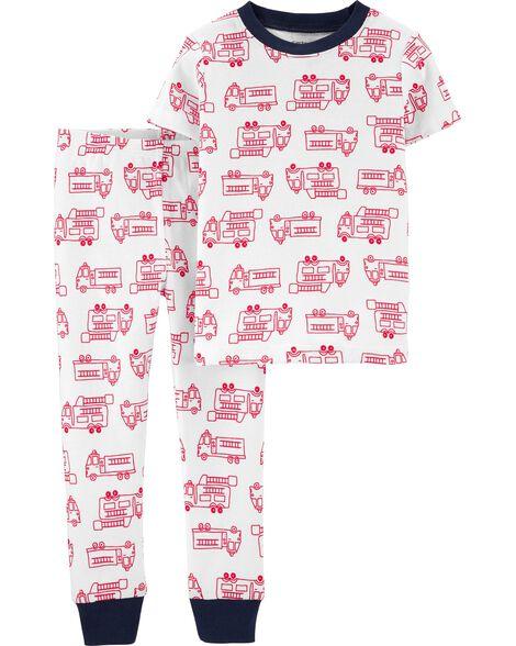 2-Piece Firetruck Snug Fit Cotton PJs
