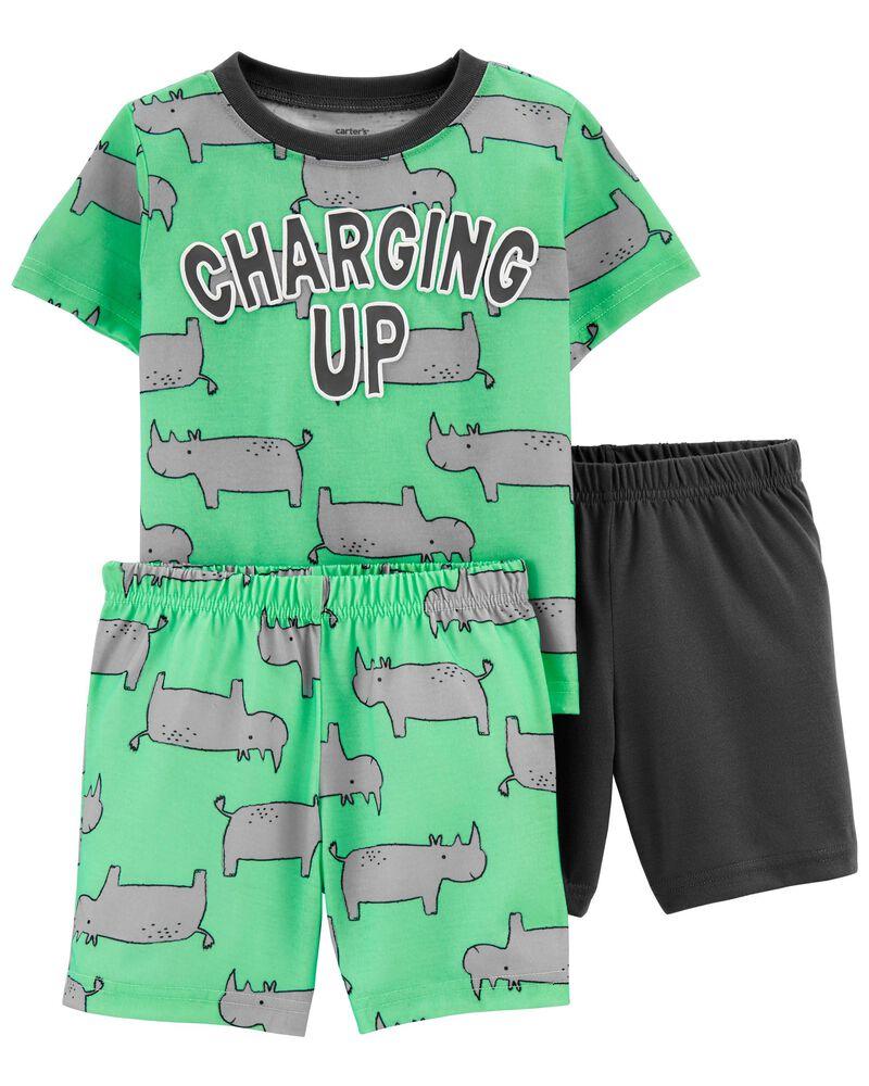 Pyjama 3 pièces de coupe ample motif rhinocéros, , hi-res