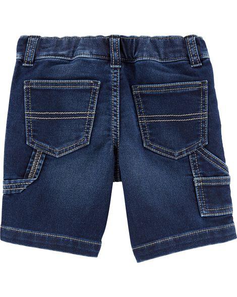 Knit Denim Utility Shorts