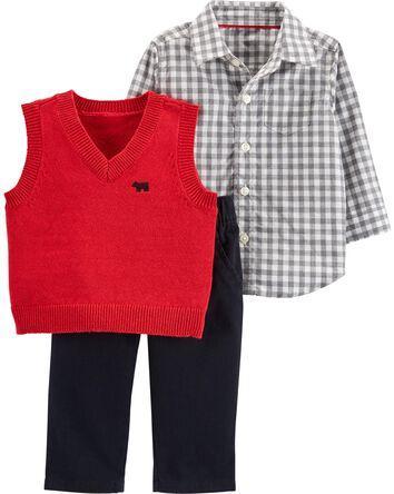 Ensemble 3 pièces gilet tricoté