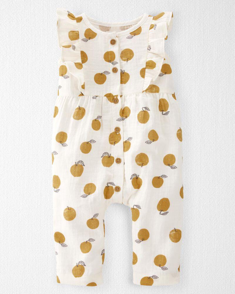 Organic Cotton Gauze Ruffle Jumpsuit, , hi-res