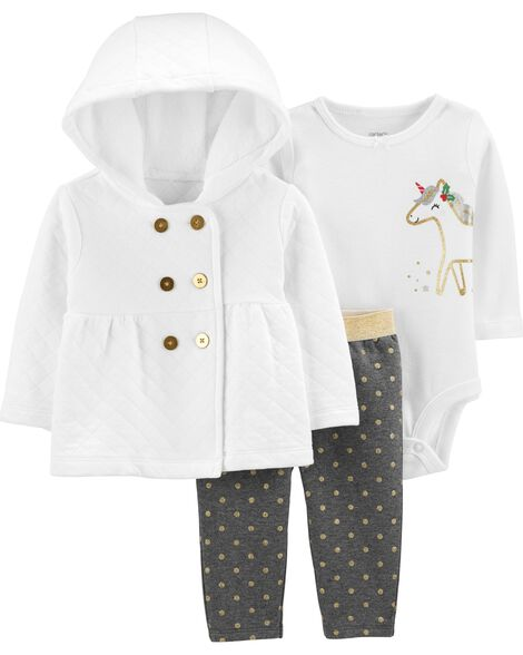 3-Piece Quilted Little Cardigan Set