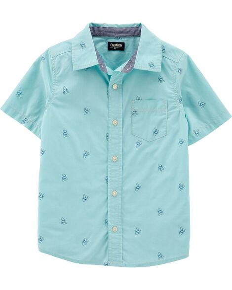Chemise à manches courtes boutonnée à requins