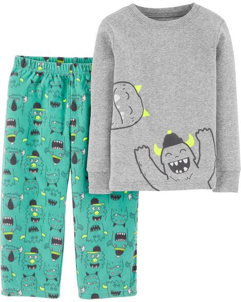 Pyjama 2 pièces en coton et molleton ajusté monstre
