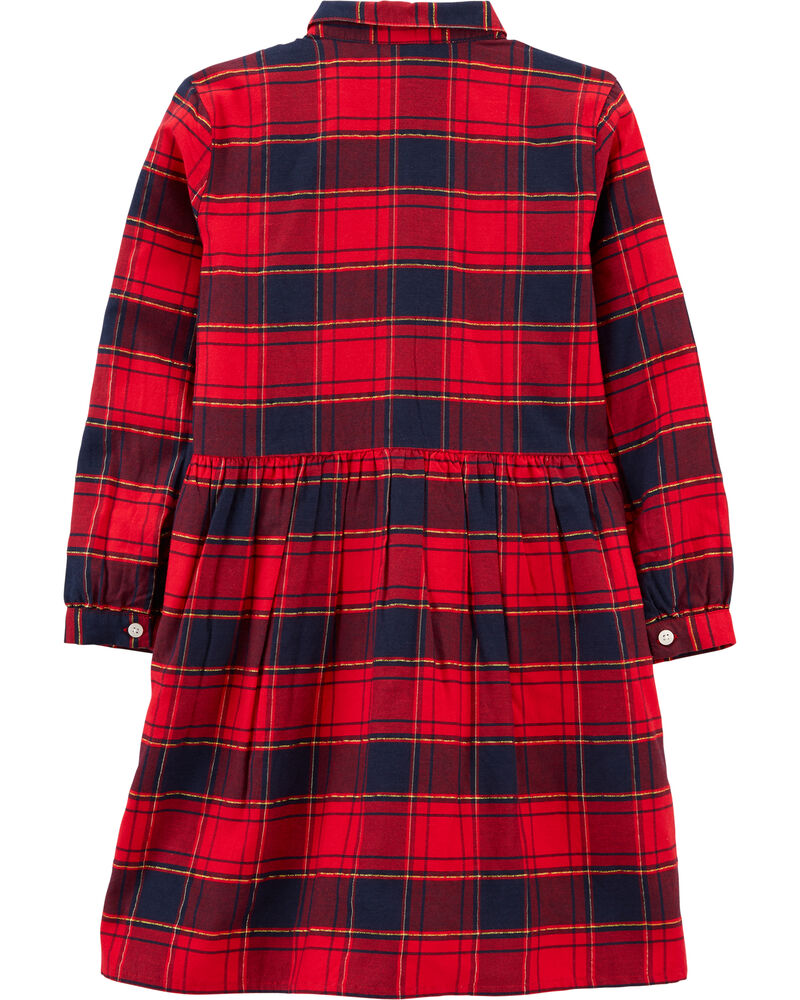 Sparkle Plaid Shirt Dress, , hi-res