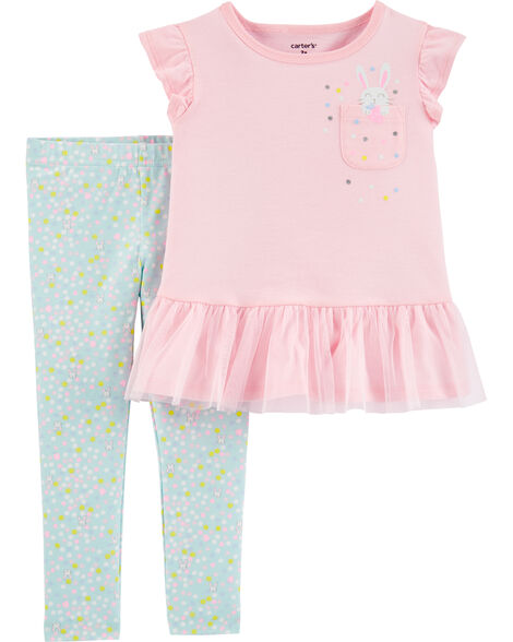 2-Piece Bunny Peplum Tee & Polka Dot Leggings