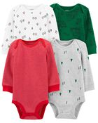 4-Pack Holiday Original Bodysuits, , hi-res