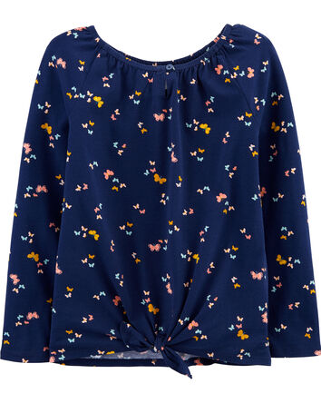 Butterfly Tie-Front Jersey Top
