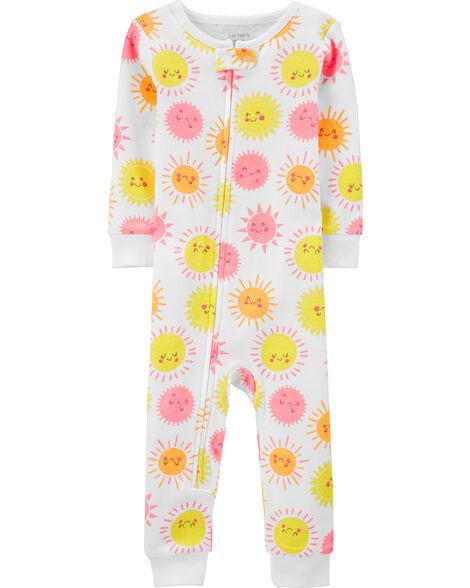 Pyjama 1 pièce sans pieds en coton ajusté soleil