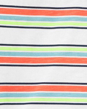 2-Piece Striped Henley Tee & Short...