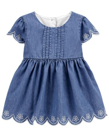 Scalloped Eyelet Trim Pleated Denim...