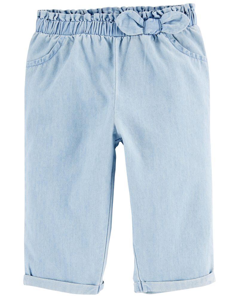 Ensemble 2 pièces t-shirt fleuri et pantalon en chambray , , hi-res