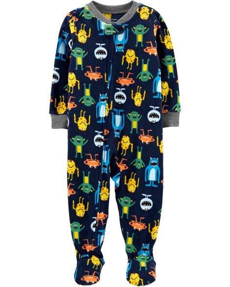 1-Piece Monster Fleece Footie PJs