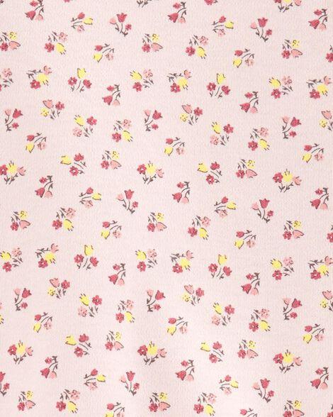 Grenouillère en cotton pour dormir et jouer fleurie avec boutons-pression