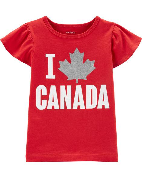 T-shirt I Love Canada avec manches volantées