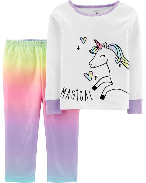 Pyjama 2 pièces en coton et molleton ajusté motif licorne arc-en-ciel