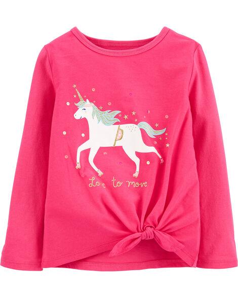 Glitter Unicorn Tie-Front Jersey Tee