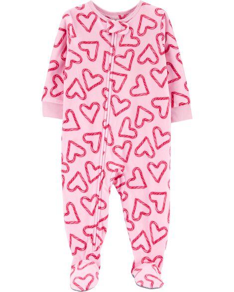 Pyjama 1 pièce en molleton motif cœur