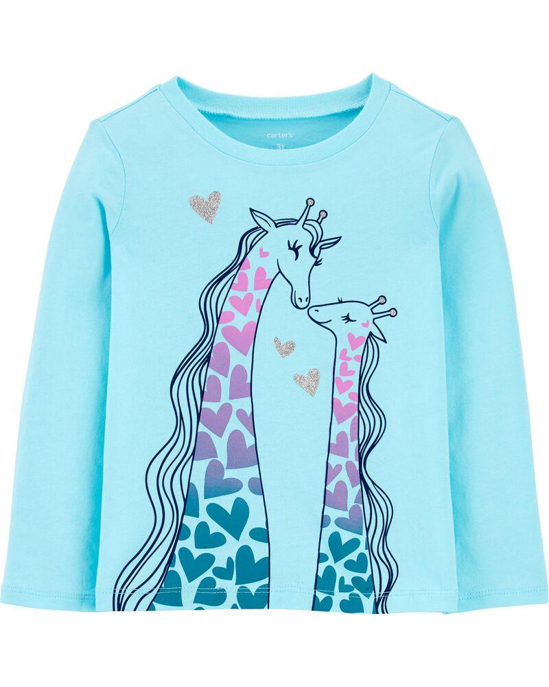 T-shirt en jersey girafe scintillante, , hi-res