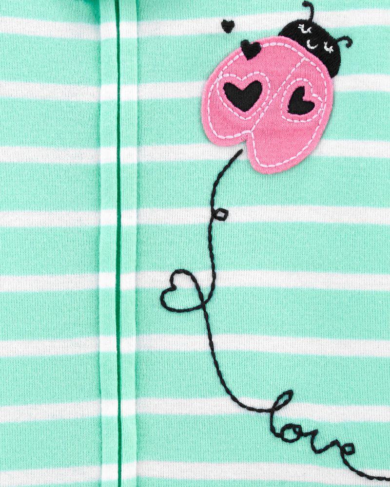 Pyjama barboteuse 1 pièce en coton ajusté à motif de coccinelle, , hi-res