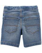 Pull-On Stretch Denim Shorts in Indigo Wash, , hi-res