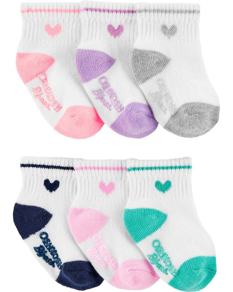 6 paires de chaussettes basses à cœurs, , hi-res