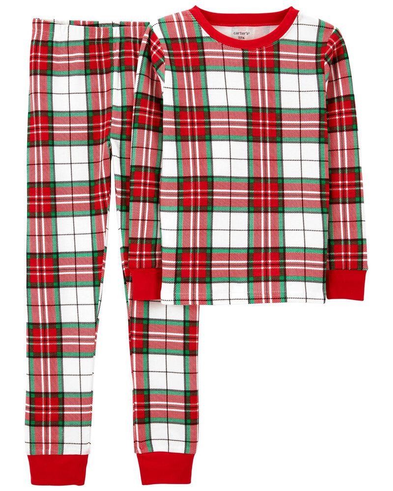 Pyjama 2 pièces en coton ajusté à motif écossais, , hi-res