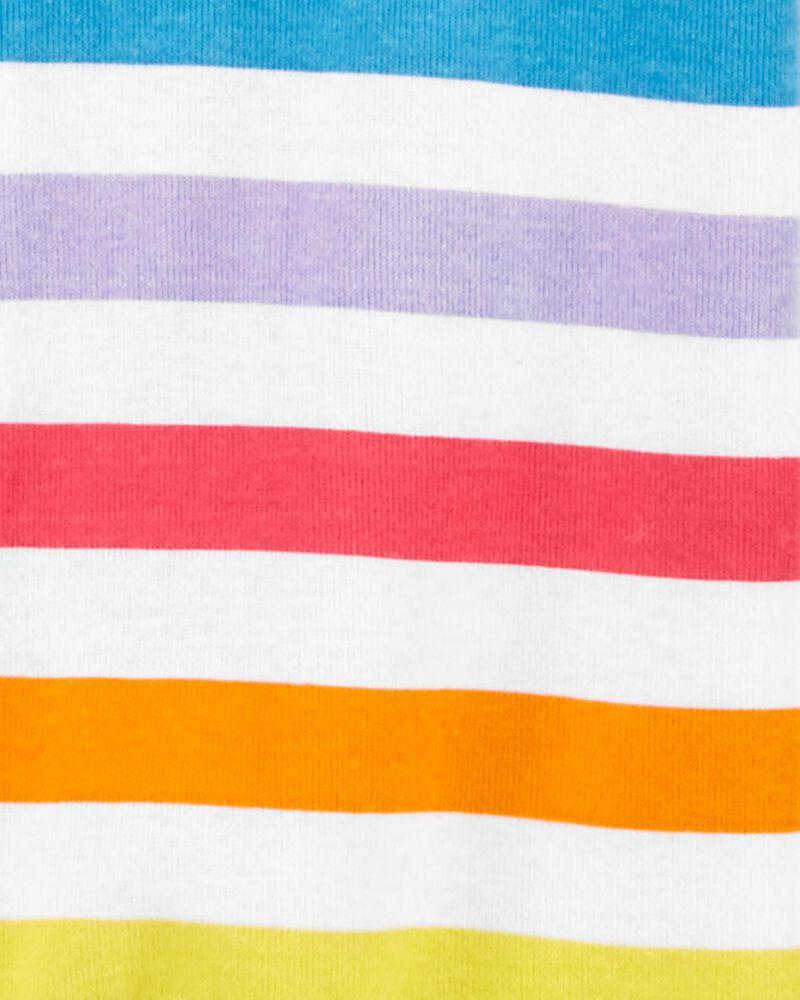 Pyjama 1 pièce sans pieds en coton ajusté motif arc-en-ciel, , hi-res