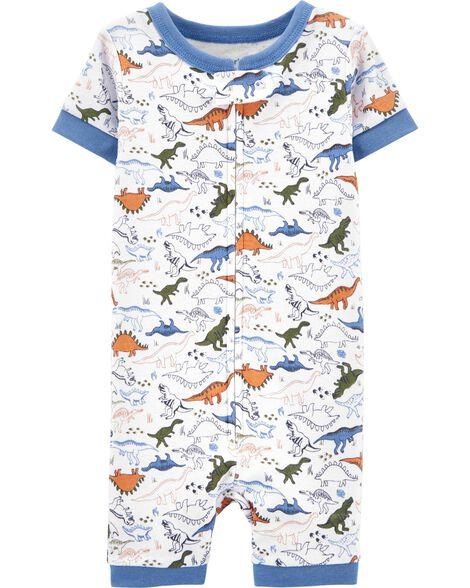 Pyjamas barboteuse 1 pièce en coton ajusté à dinosaure
