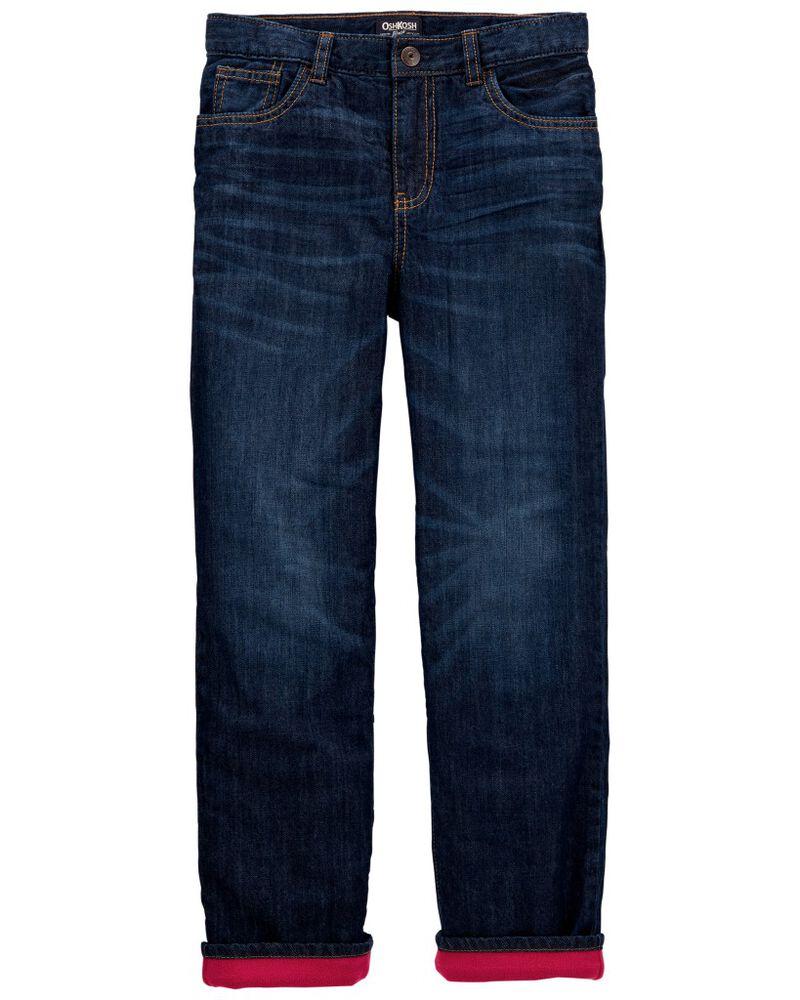Jeans doublé de micromolleton - délavage bleu yéti, , hi-res
