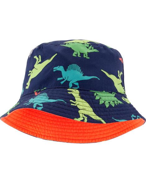 Chapeau cloche réversible à imprimé de dinosaures