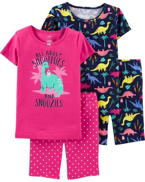 Pyjamas 4 pièces en coton ajusté motif dinosaures