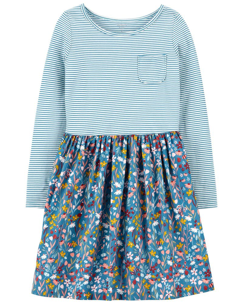 Mixed Print Cotton Dress, , hi-res