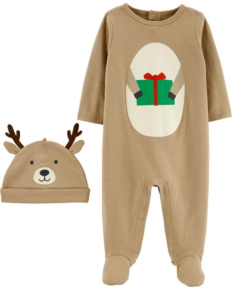 2-Piece Reindeer Coverall & Hat Set