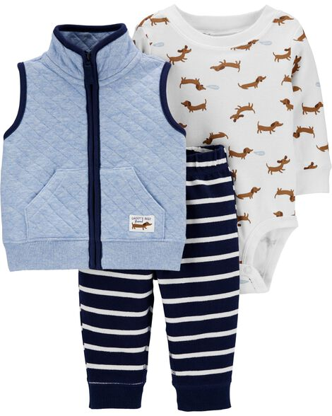 3-Piece Quilted Little Vest Set