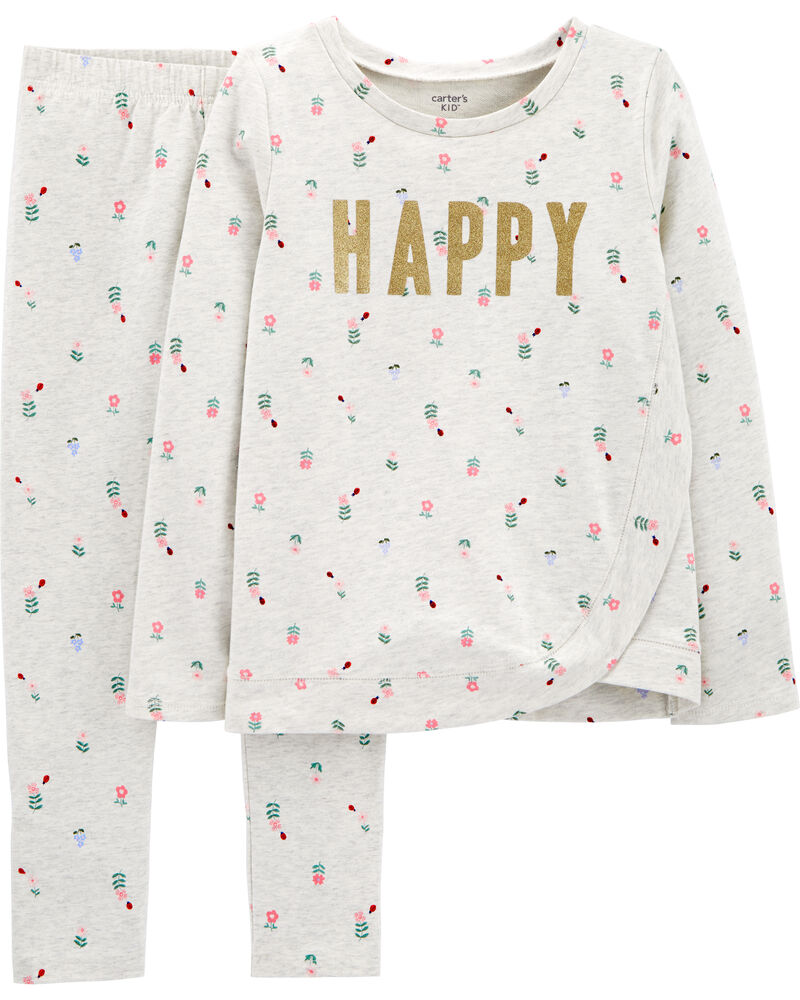 2-Piece Happy French Terry Top & Floral Legging Set, , hi-res