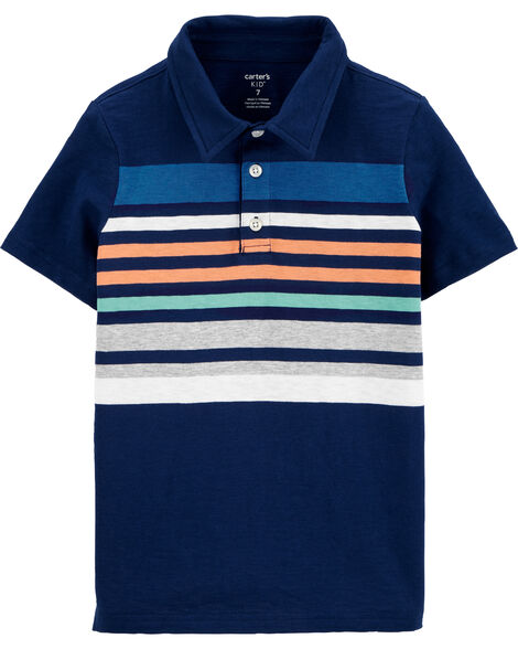 Striped Slub Jersey Polo