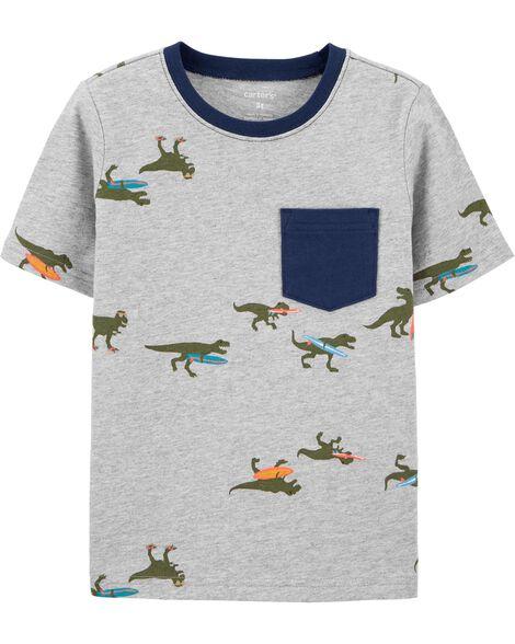 T-shirt en jersey à poche et dinosaure