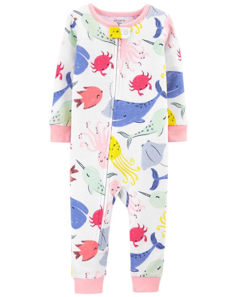 Pyjama 1 pièce sans pieds en coton ajusté à motif de baleine, , hi-res