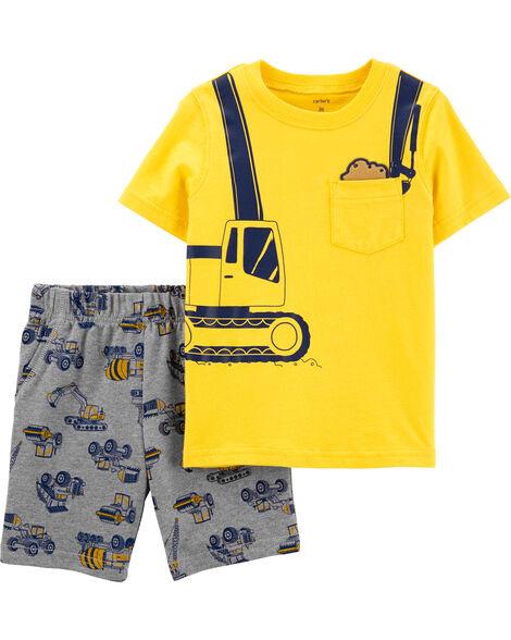 Ensemble 2 pièces t-shirt en jersey et short en jersey bouclette à motif construction