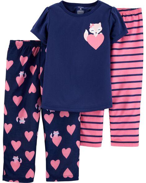 Pyjama 3 pièces en polyester avec pieds motif cœur et renard
