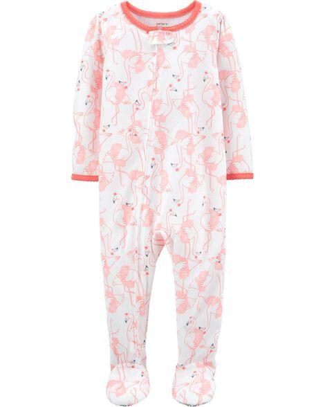 1-Piece Flamingo Poly Footie PJs