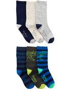 6-Pack Dinosaur Crew Socks, , hi-res