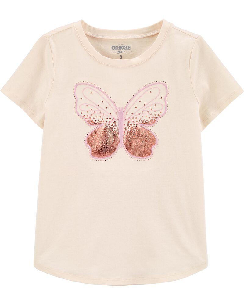 T-shirt à papillon pailleté, , hi-res