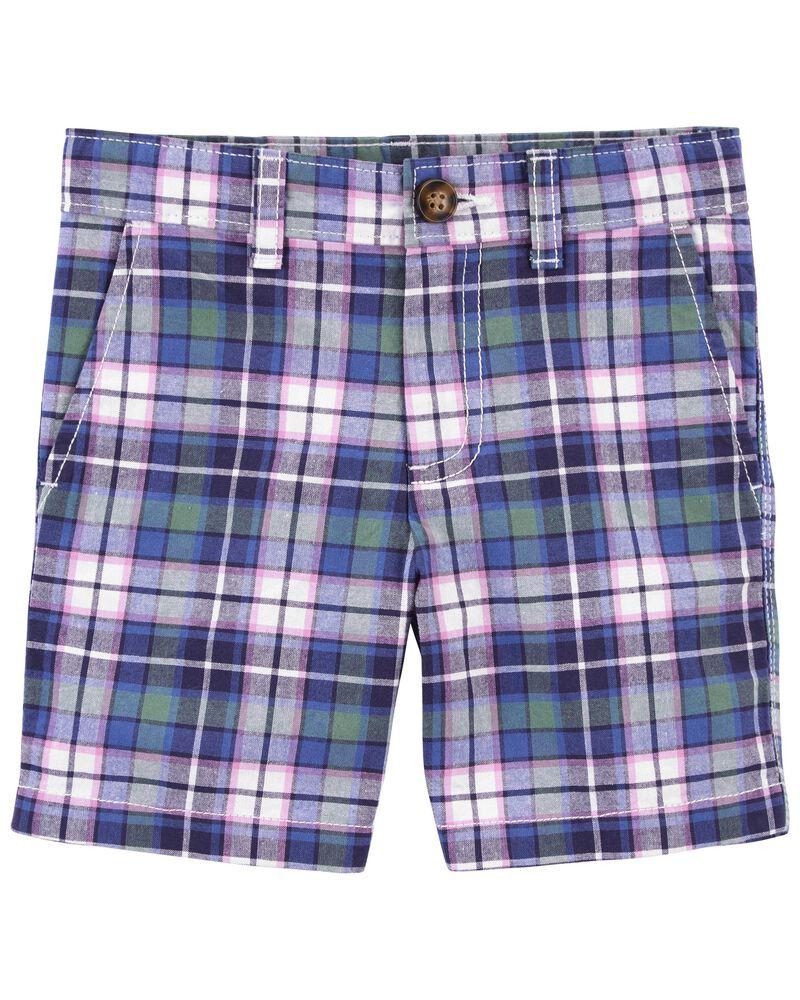 Short sans plis à motif écossais, , hi-res